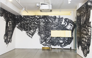 <p>Storages, 1/4'' Black Masking Tape on Mylar and Wall,Dimension Vary, 2010</p>
