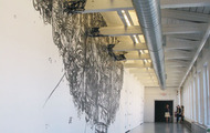 <p><span>Junkshop, 1/4'' Black Masking Tape on Mylar and Wall, 14'x26', 2007</span></p>