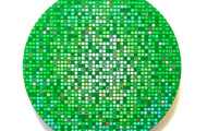 """<p><strong>Green M.O.S.S Ball</strong> - 2009, acrylic & oil on panel, 12"""" Diameter</p>"""