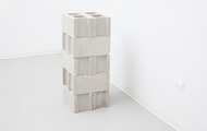"<p><em>Bracketing,&nbsp;</em>2013, cast polturethane foam, cinderblocks, talc,16""x16""x40""</p>"