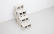 "<p><em>Long Exposure,&nbsp;</em>2013, cast urethane foam, cinderblocks, talc, 40""x16""x32""</p>"