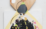"""<p><em>diadem 1: three moments of sudden harmony</em>, 2013</p> <p>acrylic, flashe, plaster, collage, tape, leaves, and plywood on panel</p> <p>28"""" x 18""""</p>"""