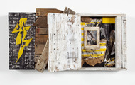 <p>Battery Life (view 2)</p> <p>wood, acrylic, collage, rubber, ink</p> <p>2010</p> <p>20 x 36 x 5</p>
