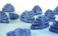 "<p>Toe Dolls / 2002 / Resin, paint / 10 x 15 x 3""</p>"
