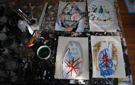 <p>studio with drawings, last day of 2013</p>