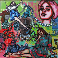 "<p><em>Girl/Power</em>, 2012, 22""x22"", Ink, acrylic, screenprint, ink transfer, sharpie and paint pens on three panes of glass. </p>"