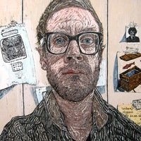 "<p><span>'Portrait 2012-13' Acrylic, ink + graphite on 16""by20"" panel. 2012-13.</span></p>"