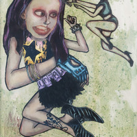 "<p><em>Violent Femme 1</em>, 2012, 16""x12"", Ink, acrylic, oil, watercolor, watercolor ink, photo transfer and dura-lar on glass. </p>"
