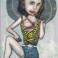 "<p><em>Violent Femme 4</em>, 2012, 16""x12"", Ink, acrylic, oil, watercolor, watercolor ink, photo transfer and dura-lar on glass. </p>"