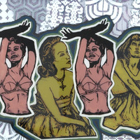 "<p><em>Freedom Dreamers 1</em>, 2009, 16""x20"", Ink, acrylic and screenprint on three panes of glass. </p>"