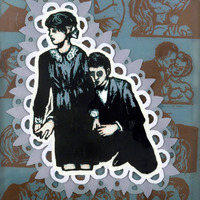 "<p><em>Alone With You 1</em>, 2009, 14""x11"", Ink, acrylic and screenprint on three panes of glass.&nbsp;</p>"