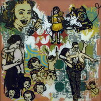 "<p><em>When You Were A Little Girl 2</em>, 2009, 15""x15"", Ink, acrylic and screenprint on three panes of glass. </p>"