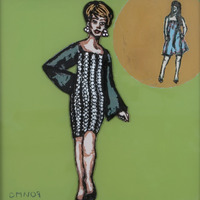 """<p><em>She Made It After All 7</em>, 2009, 8""""x8"""", Ink and acrylic on two panes of glass.</p>"""