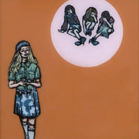 "<p><em>She Made It After All 8</em>, 2009, 8""x8"", Ink, acrylic and screenprint on two panes of glass. </p>"