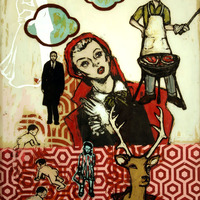 """<p><em>What Red Eyes</em>, 2007, 24""""x18"""", Ink, acrylic and screenprint on two panes of glass.&nbsp;</p>"""