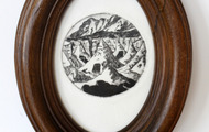 <p>Tiny Tombs, 2013 / Drypoint and frame / 6 x 8 inches oval</p>