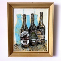 "<p><span>'bottles.' Acrylic, ink + graphite on 16.0125""by20"" MDF (20""by24"" framed). 2013. </span></p>"