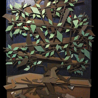 "<p>Apple Tree at Night 24""x48"" Mixed media on cradled birch panel. 2014<br /><br />My 13th marble track.  <span>The structure built around the textured abstract parts is a track that glass marbles can roll down through the painting. </span> It features a super textured night sky background with glow in the dark stars, the moon, a flaming comet, and a red planet surrounded by a swirling gold cloud. All made with marbles, metal bearings, and metal leaf. The marbles are apple themed and are picked from the branches at random and start thier decent from the top of the tree down, through its branches, inside the base of the tree, down into the silver mine, and eventually lays to rest in a pile of bones in the catacombs at the bottom. As the apple travels into the silver mine it turns into a skull to represent life and death. The nuggets of silver are actually pumice stone covered in real silver leaf.</p>"