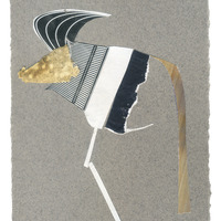 <p>Ankole, 2014.  Mixed media and found objects on fabriano paper, 4 x 6 inches</p>