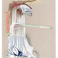 <p>White Knight, 2014.&nbsp; Mixed media and found objects on fabriano paper, 8 x 6 inches</p>
