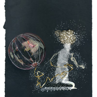 <p>Ballooner, 2014.&nbsp; Mixed media and found objects on fabriano paper, 10 x 8 inches</p>