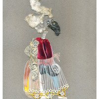 <p>Miss Haversham, 2014.  Mixed media and found objects on fabriano paper, 9.5 x 12 inches</p>