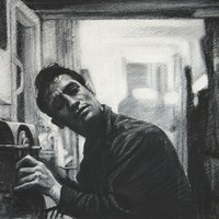 """<p style=""""text-align: center;"""">Jack Kerouac</p> <p style=""""text-align: center;"""">11"""" x 14""""</p> <p style=""""text-align: center;"""">Acrylic and dry media on paper</p> <p style=""""text-align: center;"""">(private collection)</p>"""