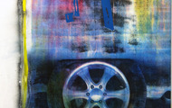 "<p><em>Flat tire,&nbsp;</em>2013, Copy-machine toner, oil on canvas, 37.5""x47""</p>"