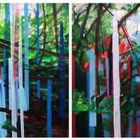 """<p><strong><em>Stereoscape,</em></strong>2013. Oil, acrylic, and spray paint on paper on panel, 22 x 60"""" (diptych)</p>"""