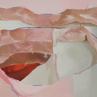 """<p><em><strong>Stairway,</strong></em><strong></strong>2008. Oil and acrylic on canvas, 24 x 32""""</p>"""