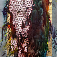 <p>Untitled (shubbak III) 2013, mixed media on hand-cut paper, 72 x 29 inches</p>