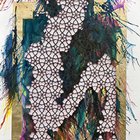<p>Untitled (shubbak V) 2013, mixed media on hand-cut paper, 72 x 29 inches</p>