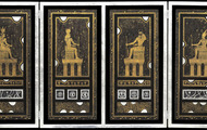 <p>Altar of Egyptian Gods, 1974, Etched Leaf on Masonite, 24 X 48 X 1.75 inches. (opened).</p>