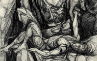 <p><em>Creation of Adam</em>, 1961, Charcoal on masonite, 18 X 16 inches.</p>