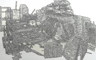 <p>Detail of Still-life #8, Pen drawing collage on paper, 18''x60'', 2011</p>