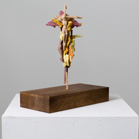 <p>Crucifixed 2, dimensions variable, aquaresin, steel rod and wooden pedestal, 2015</p>