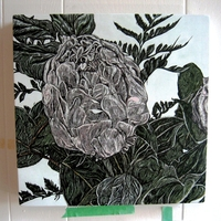 "<p>'Peony study 1' Acrylic, ink+graphite on 12""by12"" panel. 2012.</p>"
