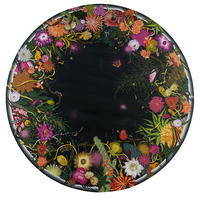 <div>Night Blooms, 2015, 6' in diameter, acrylic, collage, colored pencil and spray paint on paper mounted to canvas</div>