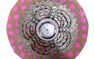 <p>Pink Clock with Bike Gears, 2014</p>