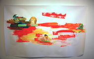 <p>Bobfloat, Acrylic on Paper, 48 x 73 inches, 2012</p>