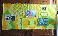 """<p><em>Arial People</em> Wallpaper installation, Acrylic on paper,Oil on canvas, 70"""" x 96"""" 2014</p>"""