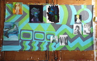 """<p>Teenage Wallpaper installation, Acrylic on paper, oil on canvas, 70""""x 106"""", 2014</p>"""