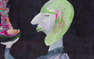 <p>Mesopotamian, Acrylic on Paper, 24 x 18 inches, (detail) 2012</p>
