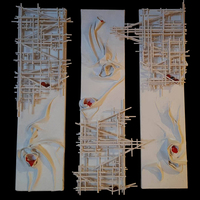 """<p><span id=""""fbPhotoSnowliftCaption"""" class=""""fbPhotosPhotoCaption"""" data-mce-mark=""""1"""">Vermilion Machines - 6""""x24""""x3 Mixed media on stretched canvas. 2014</span></p> <p><span id=""""fbPhotoSnowliftCaption"""" class=""""fbPhotosPhotoCaption"""">My 20th, 21st, 22nd marble tracks. <span id=""""fbPhotoSnowliftCaption"""" class=""""fbPhotosPhotoCaption"""">The structure built around the textured abstract parts is a track that glass marbles can roll down through the painting. </span>They feature super textured abstract backgrounds overflowing with globs of vermilion.</span></p>"""