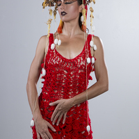 <p>Red Mermaid Dress and Dragon Crown 3</p> <p>Red Mermaid Dress: Hand Crocheted Acrylic Yarn</p> <p>Dragon Crown: Century Plant Seed Pods, Fabric, Gold Leafing, Silk Worm Cacoons</p> <p>Model: Harmondb</p> <p>Photography: Jesse Paulk &copy; 2015</p>