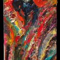 """<p>Juicy - 10""""x30"""" Mixed media on stretched canvas. 2014.</p> <p>(crushed garnets, iridescent/colour changing paint, acrylic)</p>"""