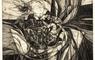 <p><em><strong>They Opened the Bag, The Winds leaped Out</strong></em>, 1964, Etching on paper,</p> <p>15 X 12 inches.</p>