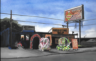 "<p><em>""Marshall's Tire Shop""</em>, Gouache on Paper, 2016, 9 x 12 in.</p>"