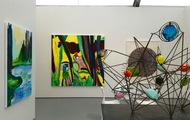 <p>Two paintings on the left at Untitled (Art Basel) Miami 2015 with Luis De Jesus Gallery: By Morning We Jumped Into The Crisp Water (Private Collection London) and Yellow Boa Canyon (Private Collection New York)</p>