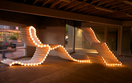 <p><em>Drain</em> | PVC pipe, zip ties, lights | dimension may vary | 2012</p>